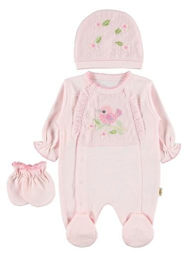 Minidamla Kız Bebek Tulum Takım Pembe Pembe